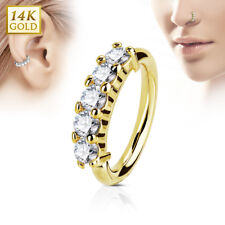 14K Solid GOLD Five Set Gem Cartilage Ear Nose Daith Lip RINGS Piercing Jewelry