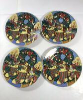 "Vintage Trisa Porcelain 7"" Dessert Plates Set Of 4 Christmas Mantel Teddy Bears"
