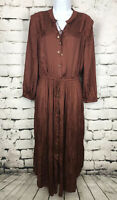 NWT Chicos Boho Chic Shimmer Brown Peasant Button Front Midi Dress Size 1.5 M 10