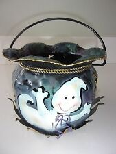 Halloween Ghost Tin Pail Candle Holder