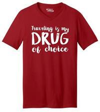 Mens Traveling My Drug Of Choice V-Neck Tee Vacation Gypsy