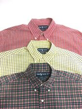 Lot of 3 Ralph Lauren Blake Plaid Check Short Sleeve Button Up Shirts, Size M L