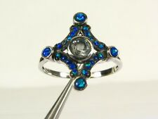 .25ct Natural Blue Topaz and Opal Victorian Deco Sterling Filigree Ring 1003O