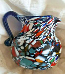 Beautiful Vintage MURANO Glass Millefiori Pitcher Vase Multicolored