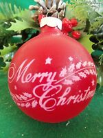 VINTAGE RED UNSILVERED GLASS SHINY BRITE STENCILED MERRY CHRISTMAS ORNAMENT