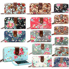 Canvas Clutch Purses & Wallets for Women with Photo Holder