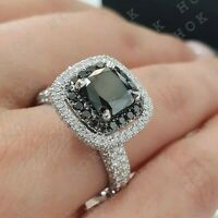 2Ct Cushion Cut Black Diamond Engagement Ring For Women's 10k Solid White Gold