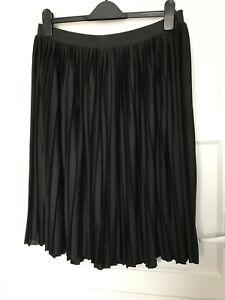 Ladies Black Midi Net Lined A Line Elastic Waist Skirt UK Size 6 Gothic Grunge