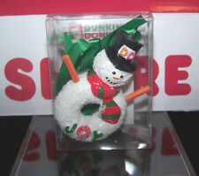 Dunkin Donuts Snowman Holiday Joy Ornament Sugar Donut 2014 Limited Edition