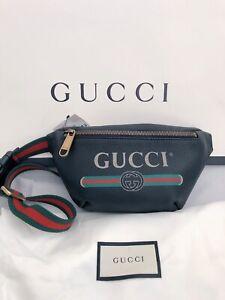 NWT Authentic GUCCI Small Black Calfskin Logo Print Belt Bag Size 90 Unisex