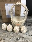 Jim Shore Follow Your Path White Woodland Easter Basket 4 Eggs Bunny Owl Deer