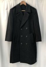 London Fog Wool Coat Double Breasted Solid Charcoal Gray Men 36R