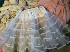"Women Leg Ave. Knee Length  24"" White Crinoline  Petticoat Lace Tutu Slip"