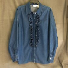 Liz Claiborne Woman 14W Solid Blue Chambray Long Sleeve Ruffled Button Shirt Top