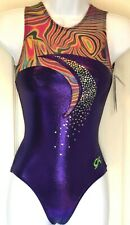 GK KALEIDOSCOPE ADULT X-SMALL PURPLE FOIL SEQUINZ GYMNASTICS TANK LEOTARD AXS