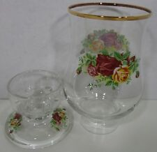 Royal Albert Old Country Roses Glass Hurricane Lamp Candlestick Candle Holder