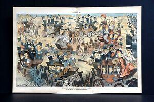 Puck Stagecoach Parade 1883 DOCTORS PREACHERS ACTORS DEMOCRATS REPUBLICANS DRUGS