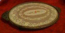 Vintage Brass Petit Point Lace And Embroidery Dressing Table Tray