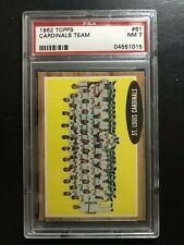1962 Topps Baseball Cards #61, Cardinals Team, PSA 7 Set Break, Nice!!!