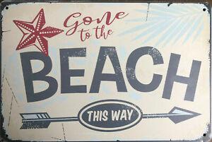 BEACH Rustic Metal Tin Sign. Retro Vintage Rustic Garage, & Man Cave