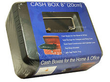 Cathedral 8 inch Cash Money Box With 2 Keys Petty Safe Tin Black