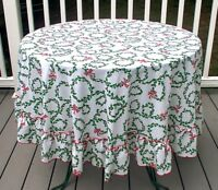 Vintage Christmas Round Tablecloth Red Green Holly Bows