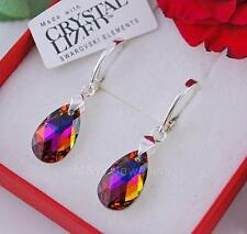 925 STERLING SILVER VOLCANO AB PEAR 16MM EARRINGS CRYSTALS FROM SWAROVSKI®
