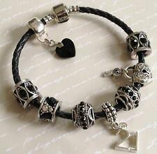 Genuine BLACK LEATHER Personalised Charm Bead Bracelet / BLACK Charms & GIFT BOX