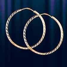 Russische Rotgold 585 Kreolen Ohrringe Neu Glänzend 27mm earrings rose gold