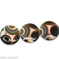 """1 Strand Shell Loose Beads Circle Pattern Round Multicolor 30mm(1 1/8"""")Dia."""