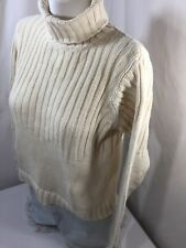 Columbia Women Thick  Sweater Cotton Regular Fit White Cream Cowl Neck Size S
