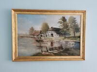 LARGE Old Original Oil Painting, signed, Gold Frame - Lake Scene, Vintage.