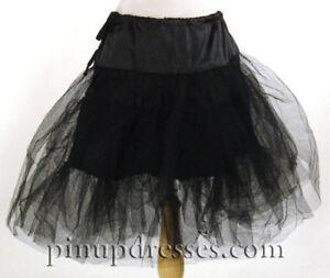 New Black Crinoline Petticoat Full Skirt Rockabilly 50s Swing S M