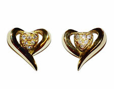 Fully Hallmarked 18ct Yellow Gold & Diamond Heart Stud Earrings