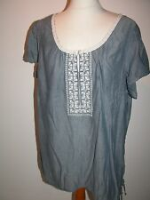 LOOSE FITTING EMBROIDERED PANEL BLUE 100% COTTON TUNIC TOP UK 22/B 54""