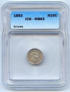 1853 H10C Arrows Liberty Seated Silver Half Dime. ICG Graded MS 63. Lot #2529