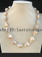 "freshwater pearl reborn keshi multicolor drop  necklace 20"" nature"