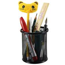 Steel Metal Mesh Cylinder Pen Pencil Case Eraser Stationery Container Pen Holder