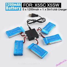 5Pcs 3.7V 1200mAh Lipo-Akku + 5 in1 USB Ladegerät Syma X5SC X5SW RC Drohne Teil
