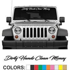 Dirty Hands Clean Money Script Windshield Decal Sticker Turbo Truck Lift Mud Car