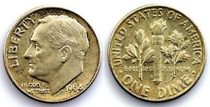 EEUU - One Dime Roosevelt. 1964-D. UNC-/SC- Plata 2,5 g