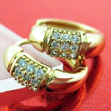 FS761 GENUINE REAL 18K YELLOW G/F GOLD DIAMOND SIMULATED HUGGIE HOOP EARRINGS