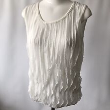 Jason Maxwell USA Blouse Top Elegant Delicate Stretchy Chic White Sleeveless L