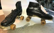 1914 HYDE WARE BROS CHICAGO Roller Skates Wood Wheels Men's ~ Size 7 w/WRENCH