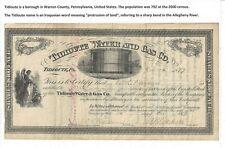Stk Tidioute Water & Gas Co. 1877 Tidioute, PA Two vignettes