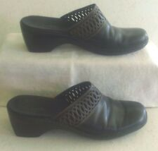 Women's Clarks Black Leather Open Heel Wedge Mule Clog, Closed Toe, Size 9 ½M
