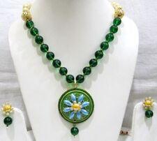 Handmade Green Beaded Necklace Set Fashion Costume jewelry Set