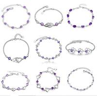925 Sterling Silver Inlay Amethyst Zircon Crystal Bracelet Women Fashion Jewelry