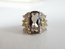 HSN Colleen Lopez 24CT Smoky Quartz Citrine BOLD Dinner Cocktail Ring Size 7