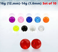 10pc Pack 16G,14G~3mm-6mm Threaded UV Acrylic Replacement Ball Body Jewelry Part